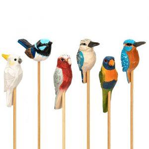 Hand-carved Birds on Stick
