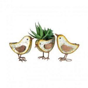 Galvanised Rustic Bird Planters