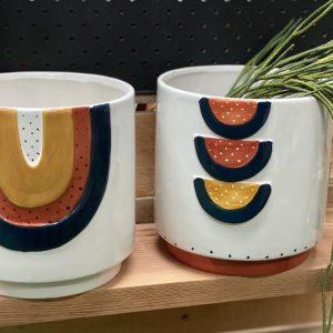 Ceramic Planter Blue & Terracotta