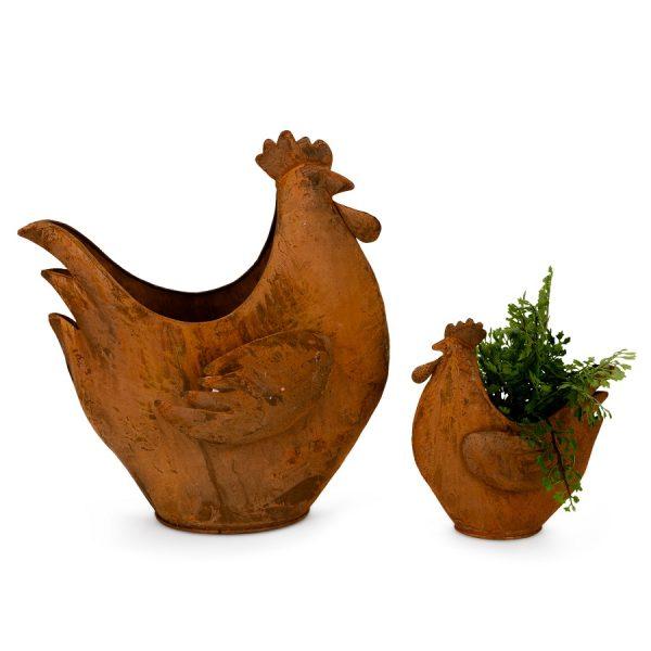 Chicken Planter Pair Rust