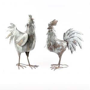Rustic hen and rooster